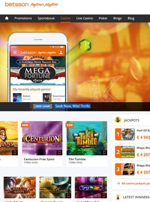 Betsson - Casino, Sportsbook, Bingo, Live Dealer, Poker, Scratchcards, Roulette, Blackjack, Baccarat