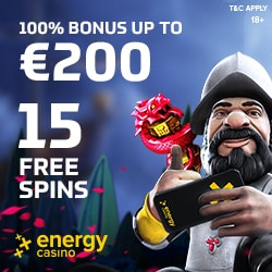 Energy Casino €5 free spins no deposit and €400 welcome bonus