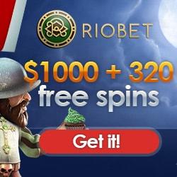 Riobet.com [Casino & Sports] 320 free spins and $1,000 bonus money