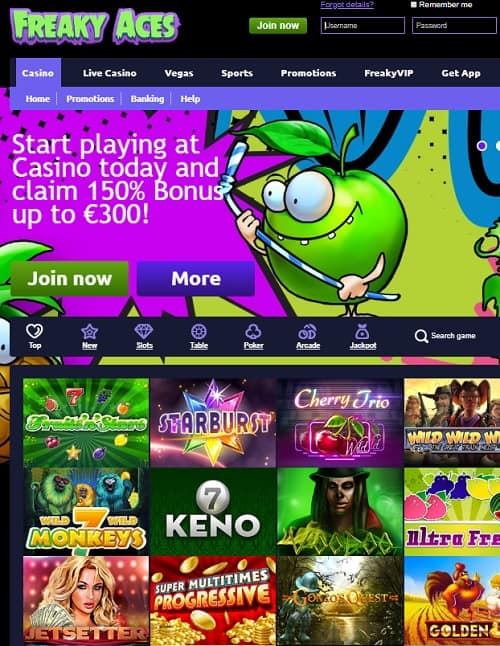 Freaky Vegas Casino free spins bonus no deposit needed