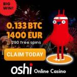 Oshi Casino – best crypto currency casino – 290 free spins & 1400€ bonus