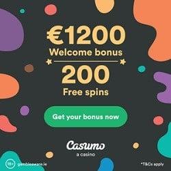 Casumo Casino 200 gratis spins + 1200€ free welcome bonus