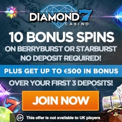 Diamond 7 Casino 60 free spins no deposit + €500 welcome bonus