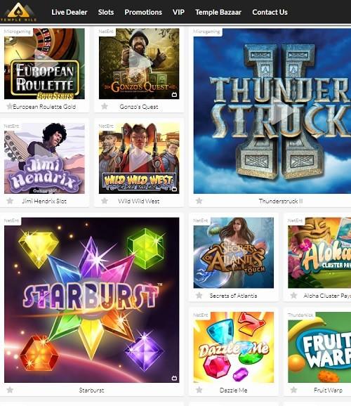Temple Nile Casino slot, video games, live dealer
