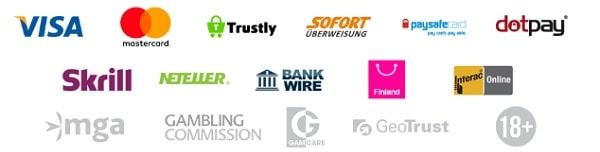 Playzee Casino - Visa, Mastercard, Skrill, Neteller, Trustly, Sofort, Paysafecard, dotpay, Bank Wire, Fundsend, InteracOnline