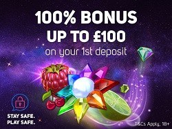 100% match bonus on first deposit