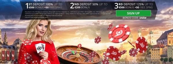 bCasino welcome bonus: 1200 EUR and 100 free spins