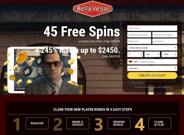 45 Free Spins to Bella Vegas