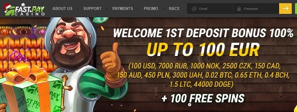 100% bonus up to 100 EUR + 100 free spins on new slots