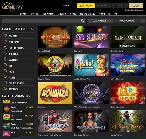Grand Ivy Casino Review & Rating