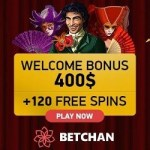 BetChan Casino 120 free spins and $/€400 or 2 Bitcoins welcome bonus
