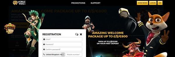 Mobile Wins Casino welcome bonus