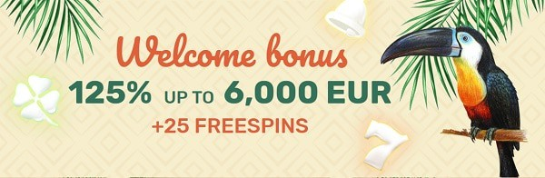 125% up to €6000 welcome bonus and 25 free spins only after 1st deposit!
