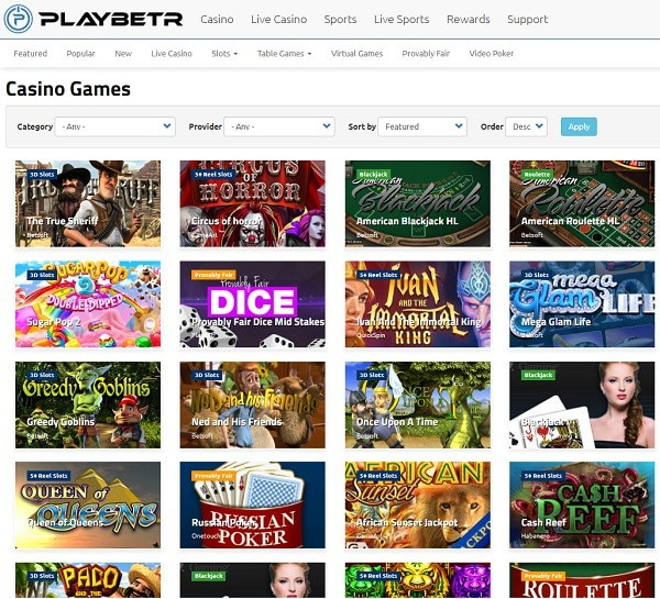 PlayBetr.com Casino Overview
