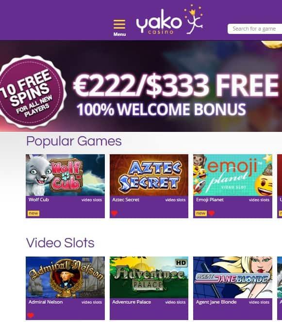 Yako Casino 10 gratis spins bonus