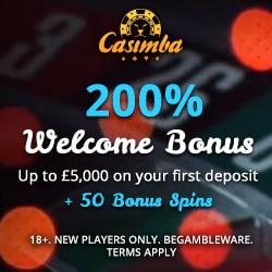 Casimba Casino 125 spins bonus + 325% up to €6,500 free credits