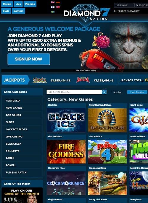 Diamond 7 Casino free spins no deposit requied!