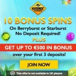 GDay Casino 60 free spins no deposit required + €500 extra bonus
