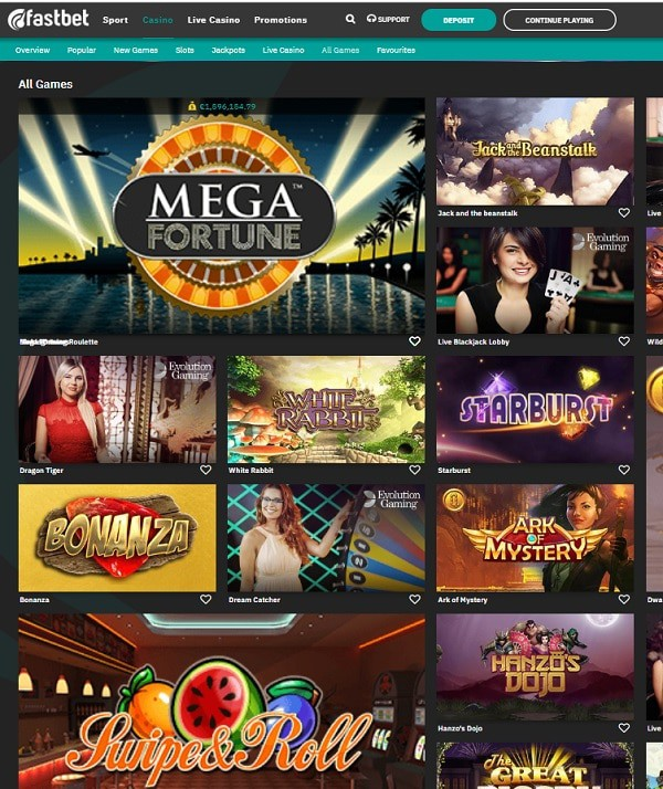 Fastbet Casino Mega Moolah game