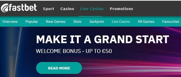 Fastbet Casino instant welcome bonus