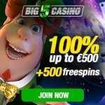 Big 5 Casino 5 gratis spins + 100% bonus + 500 free spins
