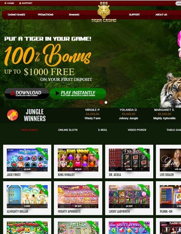888 Tiger Casino $1000 free bonus on deposit