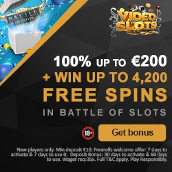 Videoslots Casino 11 wager free spins on register/deposit