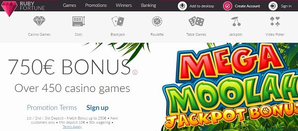 Get $750 free chips to play Mega Moolah slot!