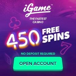 iGame Casino 450 gratis spins - no deposit bonus