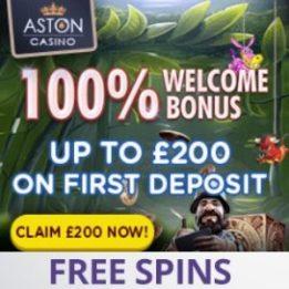 Aston Casino | 100% bonus + £200 gratis + free spins