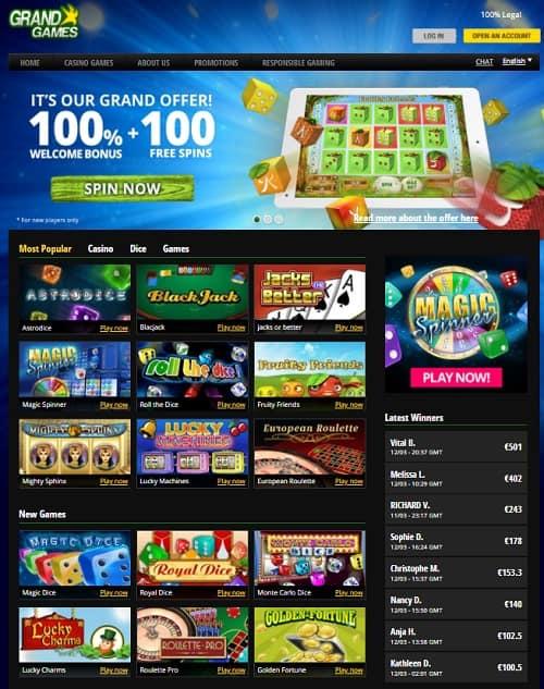 Grand Games Casino Belgium 100 free spins and no deposit bonus