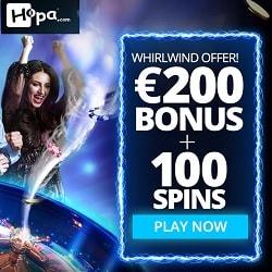 Hopa com Casino 100 Free Spins plus €200 Free Bonus Code