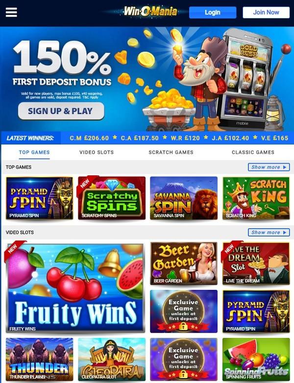 WinOMania Casino free spins bonus