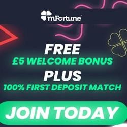 mFortune Casino £5 free cash no deposit bonus on mobile games