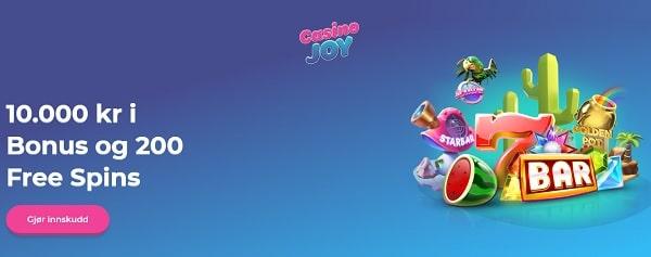Casino Joy 200 gratis spinn of 10000 NOK free bonus