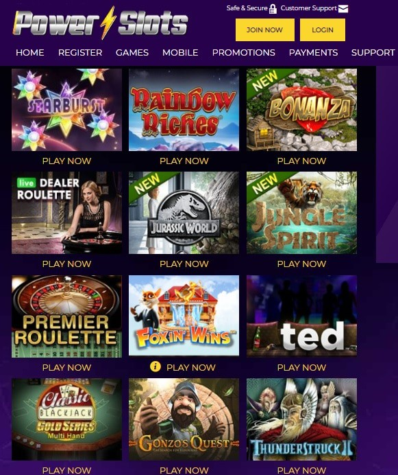 Power Slots Casino login and register for free