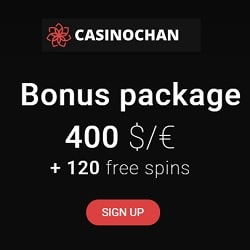 CasinoChan.com $400 bonus & 120 free spins on deposit