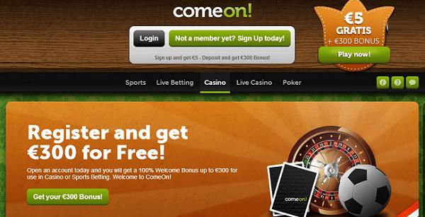 ComeOn 5 EUR gratis