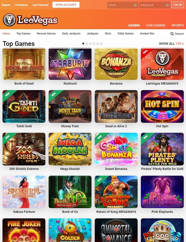 Leo Vegas Online Casino and Sportsbook Review