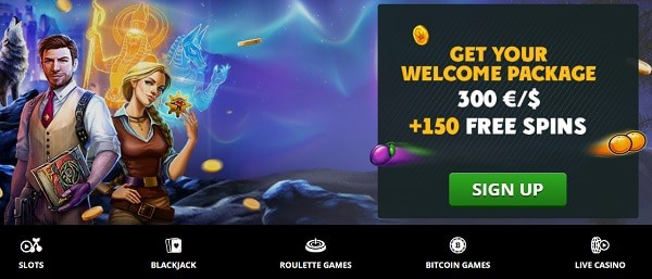 Welcome Bonus: 150 Free Spins and 300 EUR free money