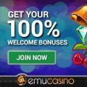 EmuCasino 100 free spins   $300 gratis   no deposit bonus