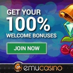 EmuCasino 100 free spins + $300 gratis + no deposit bonus