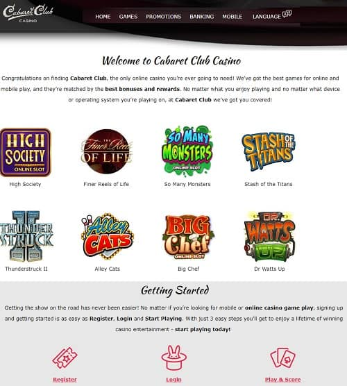 Cabaret Club Online Casino Free Spins Bonus Review