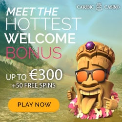 Caribic Casino 50 free spins + 100% up to €300 welcome bonus