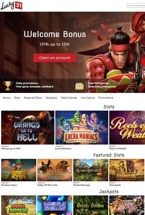 Lucky 31 Casino free spins bonus
