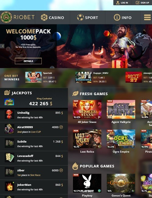 Riobet Casino Online free spins bonus
