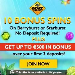 Gday Casino - €500 free bonus and 60 free spins (10 FS no deposit)