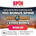 Spin Casino 100 gratis spins on Wheel of Wishes (exclusive bonus)