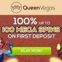 Queen Vegas Casino 100% up to 100 mega spins on first deposit