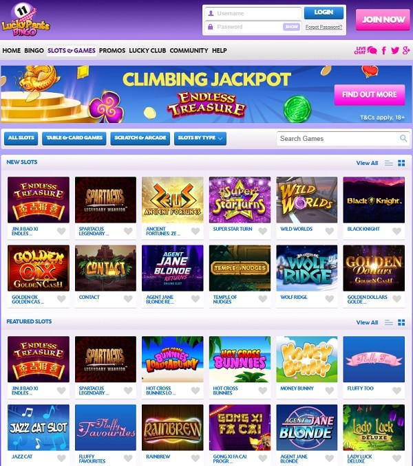 Lucky Pants Bingo Online Games